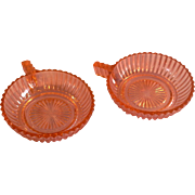Queen Mary Prismatic Pink Depression Glass  Hocking  Fruit Dessert Handle Bowls Pair
