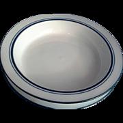 Dansk Bistro Christianshavn Blue Rimmed Soup Bowls 8 IN Pair Portugal
