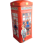 Churchills England Telephone Kiosk Money Box Bank Red Toffee Tin Embossed