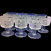 Fostoria Diamond Point Sherbet Low Champagnes Set of 11
