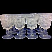 Fostoria Diamond Point Water Goblets Glasses Set of 12