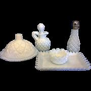 English Hobnail Pattern Milk Glass Westmoreland Children's Condiment Set Complete 5 Pcs