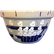 RRP Co Robinson Ransbottom Williamsburg Shoulder Blue Stripe 9 IN Mixing Bowl Hand Painted Pop