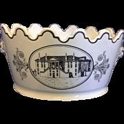 Mottahedeh Black White Transferware Creamware Monteith Bowl Cache Pot