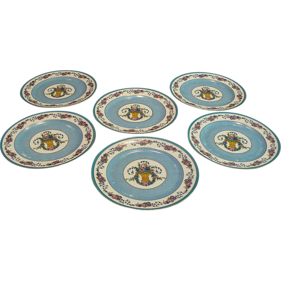 Pre 1920:Limoges Flower Basket Dinner Plates by Charles Ahrenfeldt