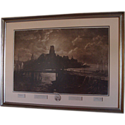 "1887: Original Signed Etching of  Longfellow's "" The  Bridge "" by George McCord &amp"
