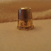 "SOLD *Victorian 10K Gold Thimble Engraved,"" E. B. """