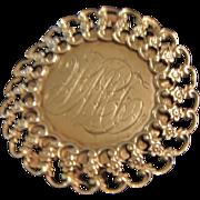 Circa 1890 : Engraved Sterling Silver Pendant / Belt Buckle