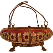 ** Victorian: Uncommon ABP Ruby Red Cut to Clear Brides Basket Caged in Ormolu