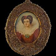 Antique; Miniature Portrait of 17th Century Beauty