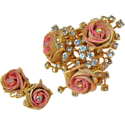 "Unique and Rare Sugar Coated "" Frosted Roses ""  Set by Hattie Carnegie"