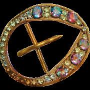Art Deco: Rare Iris / Rainbow Crystal Belt Buckle