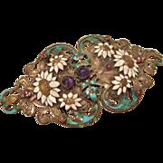 Art Nouveau : Enameled and Stone Studded Heart Shaped Belt Buckle