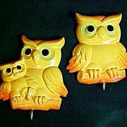 Plaster of Paris Owl Motif Pot Holder Hangers, circa 1950s