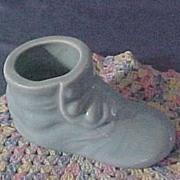 SALE Vintage Shawnee Pottery Button Shoe Planter, Sky Blue, circa 1940s