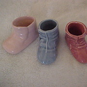 SALE Trio of Small Baby Shoe Planters, Blue, Mauve and Pink, Unmarked, circa 1950s