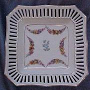 Pre-WWII Schumann Reticulated Bon-bon/Candy/Tidbit Dish, Square with Scalloped Edge