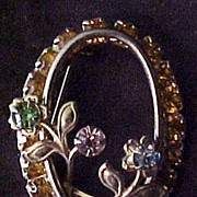 Sensational Sparkler!  Gold-Toned Oval Brooch with Prong Set Multicolored Rhinestones, circa 1955