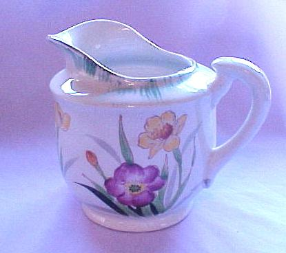 Hand Painted Floral Cream Pitcher, Made in Japan (red stamp), circa 1940-50s
