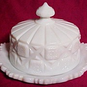 SALE Westmoreland Milk Glass Covered Cheese Dish, Old Quilt Pattern (#500), circa 1940-50s
