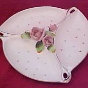 Scarce Lefton Divided Relish Dish with Applied Roses in Center and Gold Accents, circa 1950s