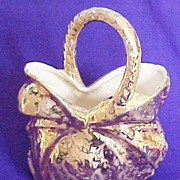Cameron Clay Products Weeping Gold Basket with Handle, circa 1955