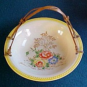 Porcelain Basket/Bowl with Arched Bamboo Handle, Hand Painted Floral Pattern, Made in Japan, circa 1940