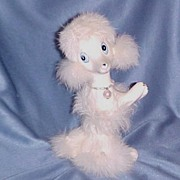 """Hand Painted Porcelain Poodle (7"""") with Fur, Marked """"Japan"""", circa 1950s"""