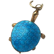 Vintage Chinese Silver Gilt Persian Turquoise Canton Enamel Articulated Turtle Tortoise Charm