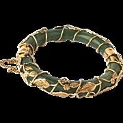Vintage Chinese Green Jade 14k Yellow Gold Floral Overlay Hinged Bangle Bracelet