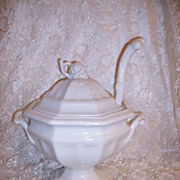 SOLD Red Cliff White Ironstone Tureen Large with Ladle