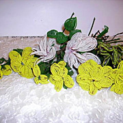 SOLD Old 1920's French Beaded Flowers Lot of 10 Long Stem