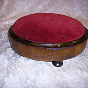 SOLD Antique Victorian Footstool Red Velvet Ladies Footstool