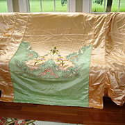SOLD Exquisite 1930's Satin Applique Bedspread Set Hollywood Glam 8 pc.