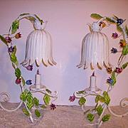 Italian Tole Flowers Lamps Pair