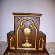 SOLD Antique Oak Gilt Gesso Altar Bible Sacrament Stand Religious Stand