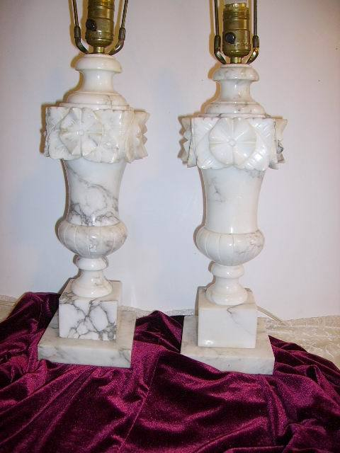 Vintage Alabaster Marble Carved Pair Lamps With Finials