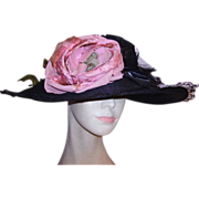 SOLD Authentic 1800's Ladies Mourning Hat Black Wide Brimmed Hat