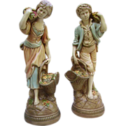 SOLD Fabulous Pair French Peasant Girl and Boy Plaster Statues 21""