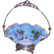 SOLD Gorgeous Cased Ruffle Glass Brides Basket in Ornate Frame Pink Roses