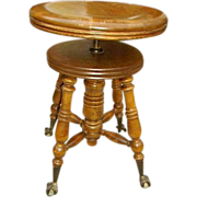 Antique Victorian Piano Stool Talon Glass Ball Feet