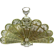 SOLD Vintage Brass Folding Fan Fireplace Screen