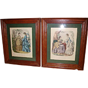 SALE Gorgeous Pair French La Mode Illustree Fashion Prints in Cherry Frames