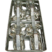 Early Large Rabbit Chocolate Mold Pewter Hinged