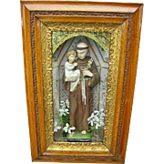 Antique Religious Shadowbox St.Anthony Statue Oak and Gesso