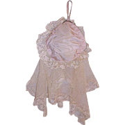 Unusual French Net Lace & Taffeta Purse Dated 1901 Wedding Purse