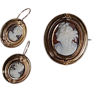 Victorian STONE CAMEO SET - Brooch & Earring (Hair Locket) - 14K Gold (c1850)