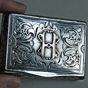Antique Continental Silver BOX - Ornate Initial Box / Stonewall Border / 19th Century