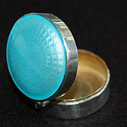 SOLD Vintage PILL BOX / COMPACT - Sterling, Blue Enamel, Art Deco