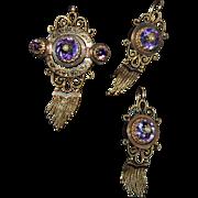 Very fine Victorian BROOCH & EARRING SET - Amethyst, Pearl, Black Enamel, 14K GOLD
